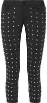 Junya Watanabe Cropped Studded Stretch Skinny Pants - Black