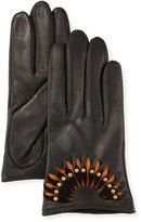 Neiman Marcus Studded Leather Short Gloves, Black/Tan