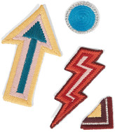 MiH Jeans Funk & Flash Set Of Four Embroidered Cotton Patches - Yellow