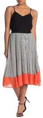 CODEXMODE Pleated Colorblock Midi Skirt