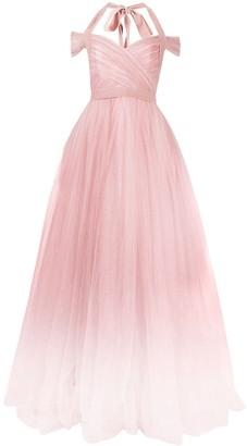Jenny Packham Ombre Tulle Wrap Dress