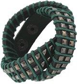 EVER FAITH® Square Decor Rope Genuine Leather Men Wristband Wrap Bracelet Unisex Couple