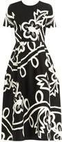 Carolina Herrera Short-Sleeve Floral Midi Dress
