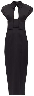 Emilia Wickstead Dacey Panel-shoulder Textured-cloque Midi Dress - Black