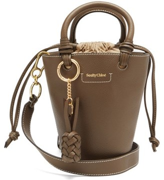 See by Chloe Cecilia Small Grained-leather Bucket Bag - Khaki