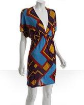 Tbags purple geometric print jersey batwing dress