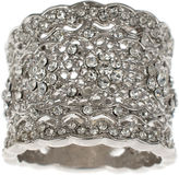 Jardin Crystal Silver-Tone Wide Floral Filigree Pave Ring