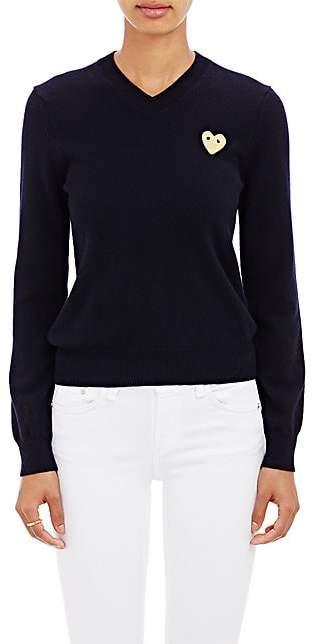 Comme des Garcons Women's Playful Heart V-Neck Sweater - Navy
