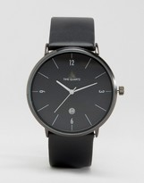 Asos Minimal Watch In Black With Leather Strap