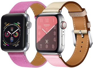 Posh Tech Pink Linen & Leather 42mm/44mm Watch Band Apple Series 1/2/3/4/5 - Pack of 2