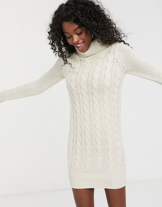Brave Soul roll neck cable knit sweater dress in oatmeal-Beige