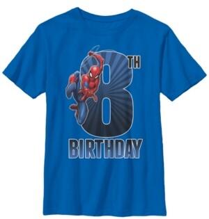 Fifth Sun Marvel Big Boy's Spider-Man Swinging 8Th Birthday Short Sleeve T-Shirt