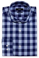 BOSS Buffalo-Check Slim-Fit Dress Shirt, Navy