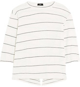 Bassike Split-back Striped Organic Cotton-jersey Top - Off-white