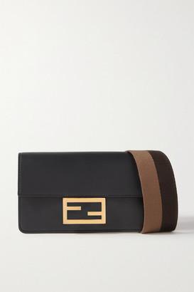 Fendi Baguette Canvas-trimmed Leather Shoulder Bag - Black