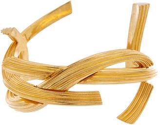Saint Laurent Monogram Striated Brass Cuff