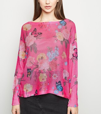 New Look Cameo Rose Floral Fine Knit Jumper