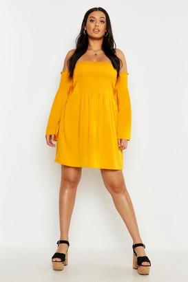 boohoo Plus Shirred Flare Sleeve Bardot Skater Dress