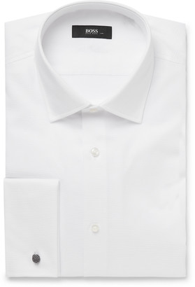HUGO BOSS White Jacques Slim-Fit Double-Cuff Textured-Cotton Shirt