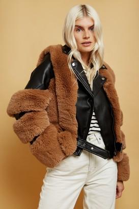 Black Faux-Fur Aviator Jacket