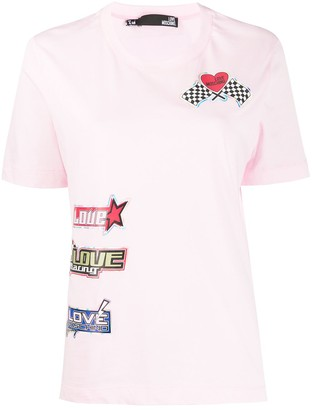 Love Moschino sticker-print crew neck T-shirt
