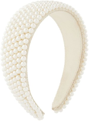 Accessorize Pearl Bridal Padded Alice Band - Nude