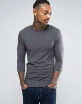 Asos Extreme Muscle 3/4 Sleeve T-Shirt With Crew Neck In Gray