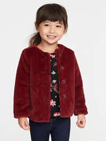 Old Navy Red Faux-Fur Coat for Toddler Girls