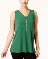 Alfani Zip-Neck Top, Created for Macy's