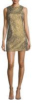 Alice + Olivia Clyde Sleeveless A-Line Metallic Jacquard Dress