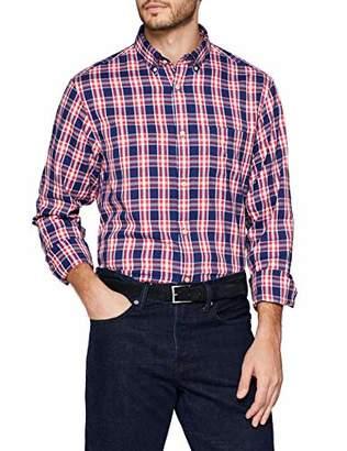 Gant Men's O1. Windblown Oxford Plaid Reg Bd Casual Shirt, (Cardinal RED 658)