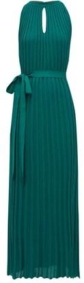 Missoni Pleated Lurex-knit Dress - Womens - Light Green