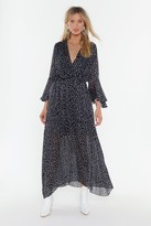 Nasty Gal Womens Dot Your Number Spotty Maxi Dress - black - L