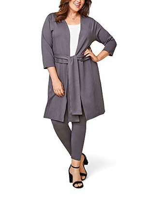 Fruit of the Loom Seek No Further by Women's Plus Size Ponte Open Front Long Cardigan