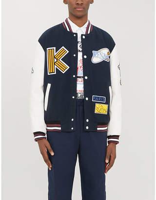 Kenzo Appliquéd wool and leather varsity jacket