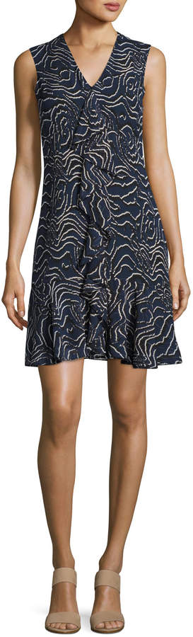 Derek Lam 10 Crosby Sleeveless Cascade Ruffle Silk Dress, Navy