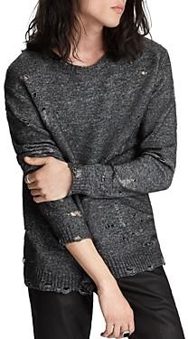 John Varvatos Collection Easy Fit Distressed Crewneck Sweater