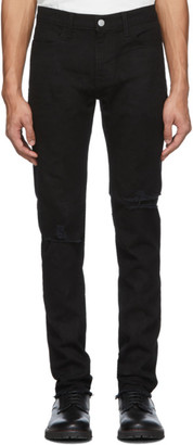 424 Black 4 Pocket Distressed Jeans