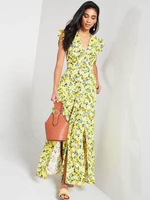 Very LINEN PRINTED BUTTON THROUGH MAXI DRESS
