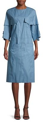 Marni Self-Tie Bell-Sleeve Cotton Dress