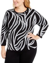 Alfred Dunner Plus Size Classics Metallic Animal-Print Sweater