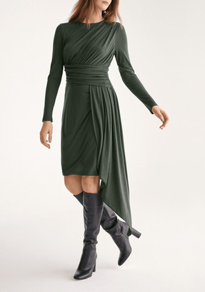 Paisie Jersey Dress with Ruched Detail and Side Skirt Drape in Dark Green