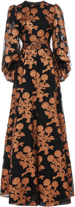 Andrew Gn Floral Fil Coupe Silk Organza Gown