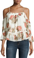 Romeo & Juliet Couture Floral-Print Cold-Shoulder Top, White Multi