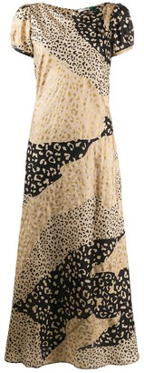 Rixo Patchwork Leopard Print Dress