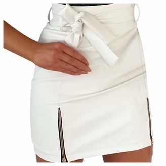 Erthome1 Women High Waist Pencil Skirt Solid Zipper Mini Pencil Skirt Hip Slim Sexy Short Skirt Plus Size Knee Length Suiting A-line Tweed Skirt Girls' Dresses White