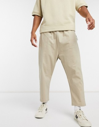 ASOS DESIGN drop crotch chino pants in beige