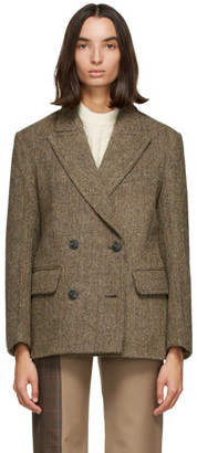 Low Classic Brown Wool Harris Tweed Blazer
