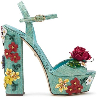 Dolce & Gabbana Floral Applique Sandals