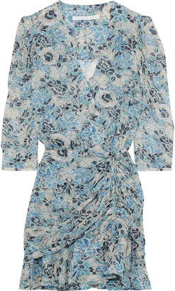 Veronica Beard Maggie Ruched Floral-print Silk-georgette Mini Dress
